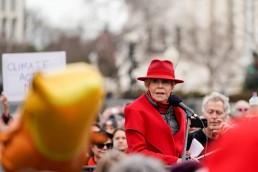 Jane Fonda speaks during a