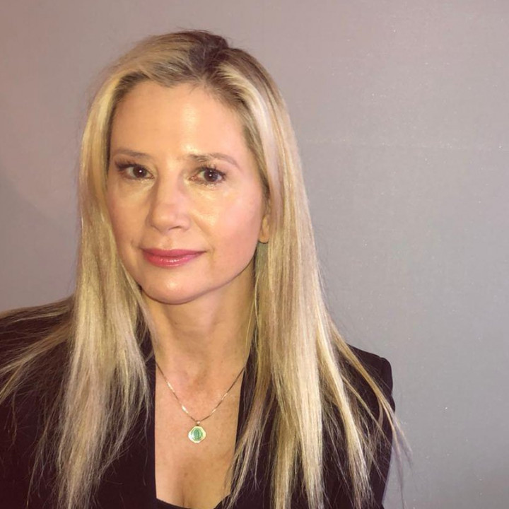 Hollywood actress Mira Sorvino poses for a photo in New York, March 5, 2020. THOMSON REUTERS FOUNDATION/Belinda Goldsmith