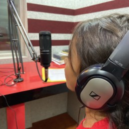 A child speaks on a radio show on child workers in Gorakhpur, India, Feb 5, 2020. Thomson Reuters Foundation/Roli Srivastava
