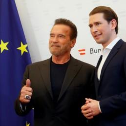 Austrian Chancellor Sebastian Kurz receives actor Arnold Schwarzenegger at the Chancellery in Vienna, Austria, January 28, 2020. REUTERS/Leonhard Foeger