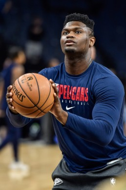 Mar 8, 2020; Minneapolis, Minnesota, USA; New Orleans Pelicans forward Zion Williamson (1) warms up before the game against the Minnesota Timberwolves at Target Center. Mandatory Credit: Jeffrey Becker-USA TODAY Sports
