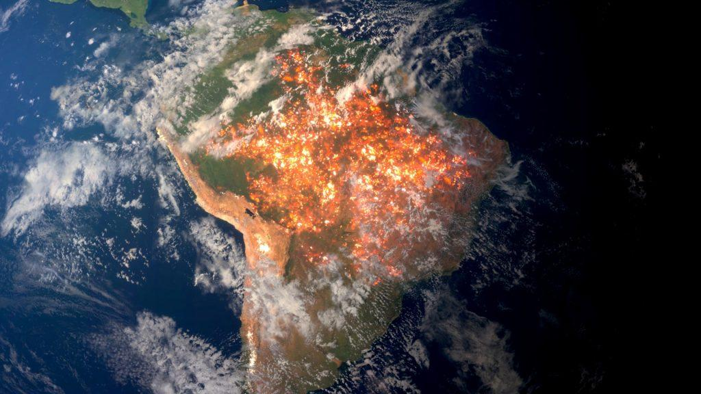 "An aerial fictitious photo animation of South America is seen for the climate emergency short film ""Guardians of Life"", Los Angeles, California, U.S., in this handout obtained by Reuters on February 5, 2020. Nation Earth/Handout via REUTERS"
