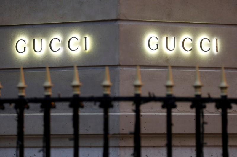 Gucci signs are seen outside a shop in Paris, France, December 18, 2017. REUTERS/Charles Platiau