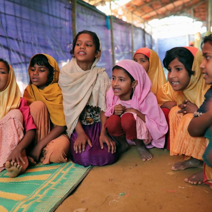 Rohingya children attend a class at an Arabic school at the Balukhali camp in Cox's Bazar, Bangladesh, April 8, 2019. REUTERS/Mohammad Ponir Hossain