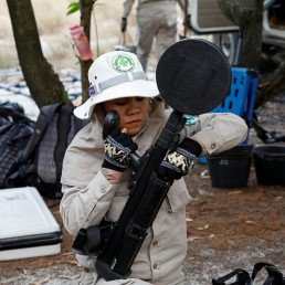 A member of all-female landmines clearance team prepares equipment for their work on a field in Quang Tri province, Vietnam March 4, 2020. Picture taken March 4, 2020. REUTERS/Kham