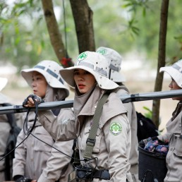 Members of all-female landmines clearance team get ready for their work on a field in Quang Tri province, Vietnam March 4, 2020. Picture taken March 4, 2020. REUTERS/Kham