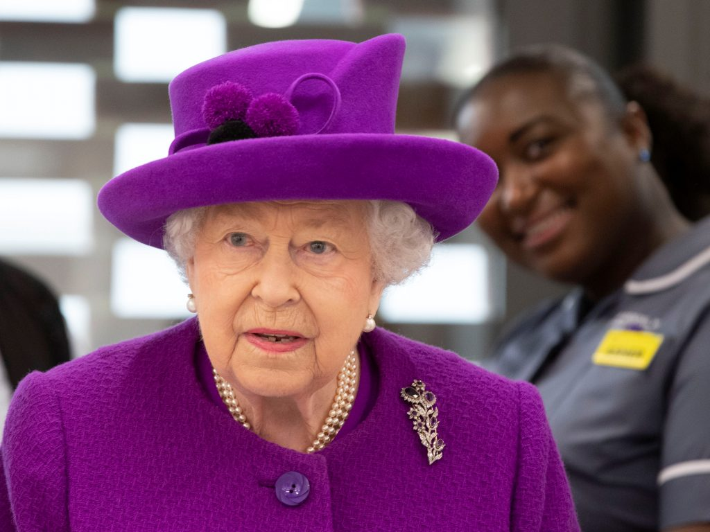 Britain's Queen Elizabeth visits the new premises of the Royal National ENT and Eastman Dental Hospitals in London, Britain February 19, 2020. Heathcliff O'Malley/Pool via REUTERS