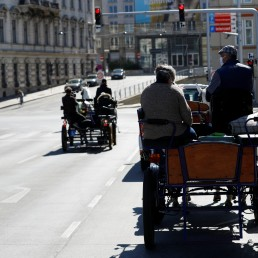 Fiaker horse carriages are on their way to deliver food packages during the coronavirus disease (COVID-19) outbreak in Vienna, Austria April 8, 2020. REUTERS/Leonhard Foeger