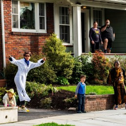 Neighbours dressed up in Star War customs dances outside of Reuben Goodman's house during his 5th birthday party as the outbreak of the coronavirus disease (COVID-19) continues in South Orange, New Jersey U.S., April 14, 2020. REUTERS/Eduardo Munoz