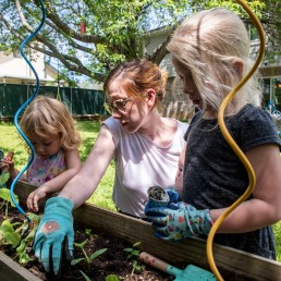 Ellie, Jamie and Billie Calder plant some squash in their vegetable garden in Round Rock, Texas, amid the coronavirus disease (COVID-19) spread in the U.S., April 7, 2020. REUTERS/Sergio Flores