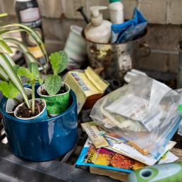 Seed packets and small plants are lined up on a table outside Jaime Calder's home in Round Rock, Texas, amid the coronavirus disease (COVID-19) spread in U.S. April 7, 2020. REUTERS/Sergio Flores