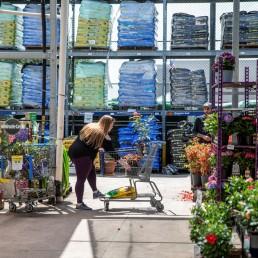 Customers buy garden supplies at Lowe's store, as many people turned to planting more fruits and vegetables at home during the coronavirus disease (COVID-19) spread, in Round Rock, Texas, U.S., April 7, 2020. REUTERS/Sergio Flores