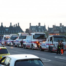 Emergency services are seen on Westminster Bridge during the Clap for our Carers campaign in support of the NHS as the spread of the coronavirus disease (COVID-19) continues, London, Britain, April 23, 2020. REUTERS/Hannah Mckay