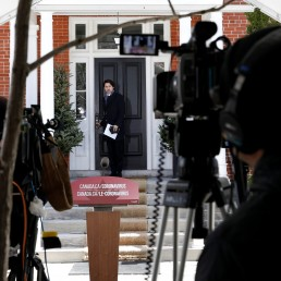 Canada's Prime Minister Justin Trudeau attends a news conference at Rideau Cottage, as efforts continue to help slow the spread of coronavirus disease (COVID-19), in Ottawa, Ontario, Canada April 20, 2020. REUTERS/Blair Gable