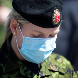 Canadian Armed Forces (CAF), Lt. Cmdr. Heather Galbraith, is seen after speaking with the media at Villa Val des Arbres, a seniors' long-term care centre, as they arrive to help amid the outbreak of the coronavirus disease (COVID-19), in Montreal, Quebec, Canada April 20, 2020. REUTERS/Christinne Muschi