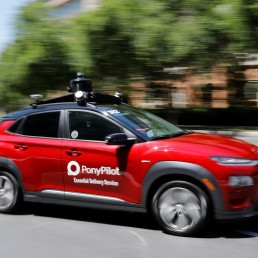 Toyota-backed self driving company Pony.ai begins to provide autonomous electric vehicles to deliver packages from local e-commerce platform Yamibuy during the outbreak of the coronavirus disease (COVID-19) in Irvine, California, U.S., April 28, 2020. REUTERS/Mike Blake
