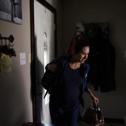 Pregnant nurse Samantha Salinas arrives home after work amid a coronavirus disease (COVID-19) outbreak in San Antonio, Texas, U.S., May 7, 2020. REUTERS/Callaghan O'Hare