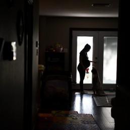 Pregnant nurse Samantha Salinas speaks with her family amid a coronavirus disease (COVID-19) outbreak in San Antonio, Texas, U.S., May 6, 2020. REUTERS/Callaghan O'Hare