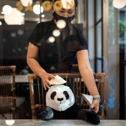 An employee puts a hat on a stuffed panda doll used as part of social distancing measures to prevent the spread of the coronavirus disease (COVID-19), at the Maison Saigon restaurant that reopened after the easing of restrictions in Bangkok, Thailand, May 13, 2020. REUTERS/Athit Perawongmetha