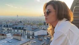 Melody Gardot looks over Paris skyline, in France April 29, 2020. Picture taken April 29, 2020. @melodygardotofficial/Handout via REUTERS