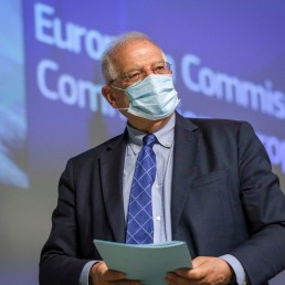 European High Representative of the Union for Foreign Affairs, Josep Borrell, is seen during a video press conference at the end of International Donors' Conference in solidarity with Venezuelan refugees and migrants in the countries of the region, in the context of the coronavirus pandemic in Brussels, Belgium May 26, 2020. Olivier Hoslet/Pool via REUTERS