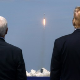 U.S. President Donald Trump and U.S. Vice President Mike Pence watch the launch of a SpaceX Falcon 9 rocket and Crew Dragon spacecraft on NASA's SpaceX Demo-2 mission to the International Space Station from NASA's Kennedy Space Center in Cape Canaveral, Florida, U.S. May 30, 2020. REUTERS/Jonathan Ernst