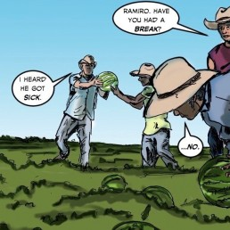 Latino migrant workers in the United States feature in the latest edition of the comic book 'El Peso Hero' by Hector Rodriguez, 1 June, 2020. Handout / Thomson Reuters Foundation