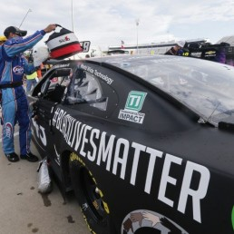 Jun 10, 2020; Martinsville, VA, USA; The car for driver Bubba Wallace has a Black Lives Matter logo as it is prepared for the NASCAR Cup Series at Martinsville at Martinsville Speedway. Mandatory Credit: Steve Helber/Pool Photo via USA TODAY Network