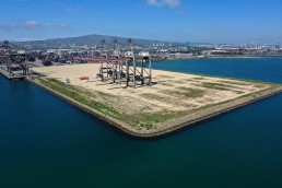 An empty shipping dock is seen, as the global outbreak of the coronavirus disease (COVID-19) continues, in the Port of Los Angeles, California, U.S., April 16, 2020. REUTERS/Lucy Nicholson