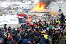 Opponents of the Dakota Access oil pipeline march out of their main camp near Cannon Ball, North Dakota, U.S., February 22, 2017. REUTERS/Terray Sylvester