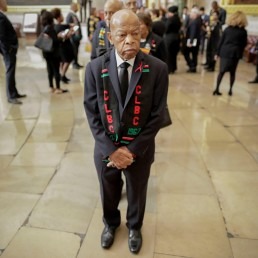 U.S. Rep. John Lewis (D-GA) and other members of the Congressional Black Caucus line up as they wait to enter as a group to attend the memorial services for Rep. Elijah Cummings (D-MD) at the U.S. Capitol in Washington, October 24, 2019. Pablo Martinez Monsivais/Pool via Reuters