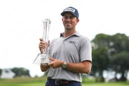 Jul 26, 2020; Blaine, Minnesota, USA; Michael Thompson celebrates his victory with the 3M Open trophy after the final round of the 3M Open golf tournament at TPC Twin Cities. Mandatory Credit: David Berding-USA TODAY Sports