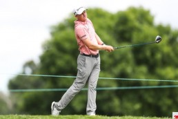 Jul 26, 2020; Blaine, Minnesota, USA; Adam Long hits a tee shot on the 11th hole during the final round of the 3M Open golf tournament at TPC Twin Cities. Mandatory Credit: David Berding-USA TODAY Sports