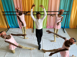 Anthony Mmesoma Madu, an 11-year-old ballet dancer, poses during a rehearsal with other students at the Leap of Dance Academy in Lagos, Nigeria July 27, 2020. Picture taken July 27, 2020. REUTERS/Seun Sanni