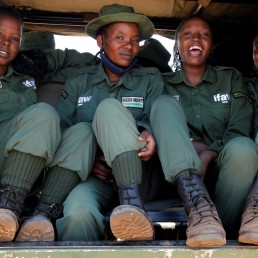 Members of Team Lioness, an all-female Kenyan ranger unit, patrol in their pickup truck as they stay at Risa camp due to the coronavirus disease (COVID-19) outbreak, within the Olgulului conservancy in Amboseli, Kenya August 7, 2020. Picture taken August 7, 2020. REUTERS/Njeri Mwangi