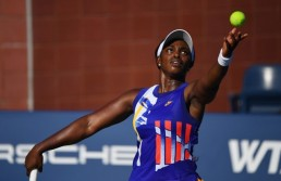 Aug 23, 2020; Flushing Meadows, New York, USA; Sloane Stephens (USA) hits the ball against Caroline Garcia (FRA) during the Western & Southern Open at the USTA Billie Jean King National Tennis Center. / Robert Deutsch-USA TODAY Sports