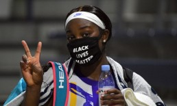 Sep 1, 2020; Flushing Meadows, New York, USA; Sloane Stephens of the United States exits the court with a Black Lives Matter mask following her match against Mihaela Buzarnescu of Romania on day two of the 2020 U.S. Open tennis tournament at USTA Billie Jean King National Tennis Center. / Robert Deutsch-USA TODAY Sports