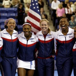 The USA Fed Cup team poses after defeating Czech Republic during the 2003 Fed Cup in Lowell, Massachusetts, U.S. April 27, 2003. ITF Tennis/via REUTERS