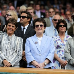Billie Jean King and Martina Navratilova are seen during an event in an unknown location, July 3 2010. ITF Tennis/via REUTERS