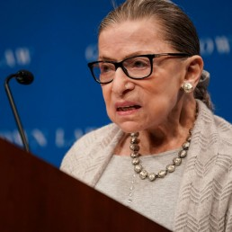 U.S. Supreme Court Justice Ruth Bader Ginsburg delivers remarks during a discussion hosted by the Georgetown University Law Center in Washington, D.C., U.S., September 12, 2019. REUTERS/Sarah Silbiger