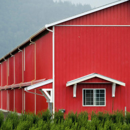 Red Barn with Hoppers