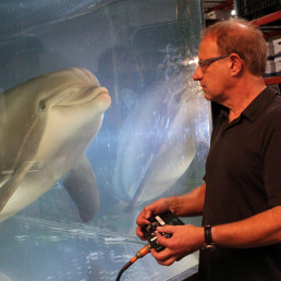 Walt Conti, CEO of Edge Innovations, and the Robot dolphin could signal end of captive animals