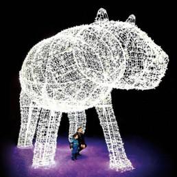father son under light up polar bear, holiday activities