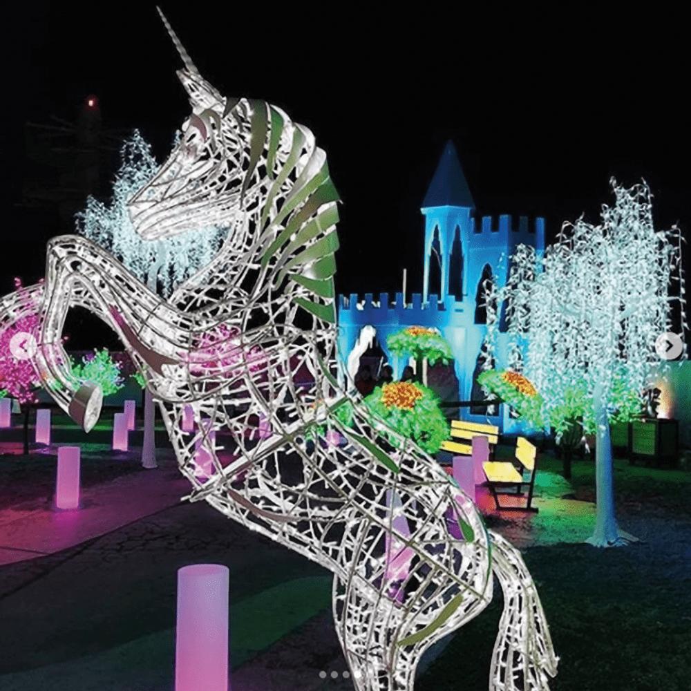 light up attractions, unicorn, christmas lights, niagara