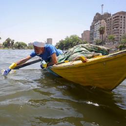 fisherman nile river fishing plastic