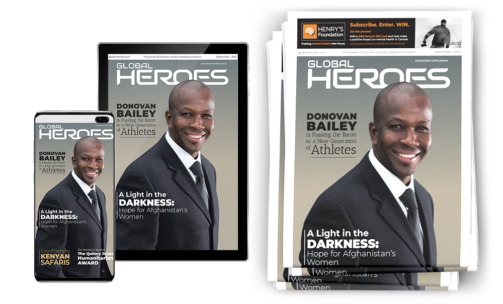 002-GHN Global Heroes News Cover Donovan Bailey stacked with Phone and Tablet